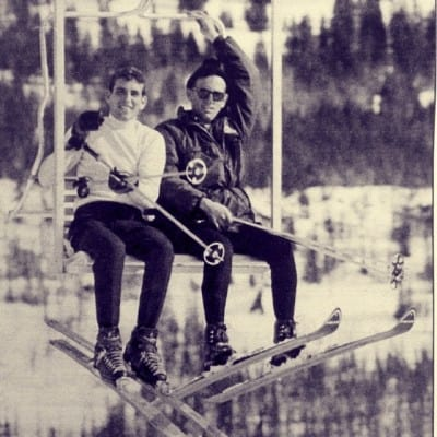 Old Photograph of Skiers on a Ski Lift in Brain Head